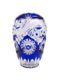 蓝色水晶花瓶 免版税库存图片