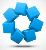 蓝色求3D的立方 免版税库存图片