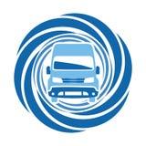 蓝色汽车圆的象 正面图标志 图库摄影