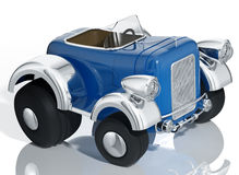 蓝色汽车旧车改装的高速马力汽车。 免版税库存图片