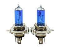 蓝色汽车的卤素电灯泡 免版税库存照片