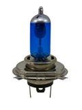 蓝色汽车的卤素电灯泡 库存图片