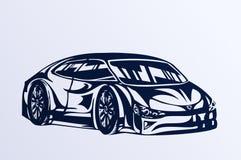 蓝色汽车草图体育运动 免版税图库摄影