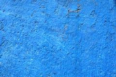 蓝色油漆混凝土墙纹理背景 免版税库存图片