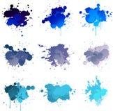 蓝色油漆splat 库存例证