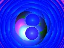 蓝色泡影和分数维圈子 免版税库存照片