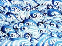 蓝色波动图式最小的水彩绘的手拉的日本式 库存图片