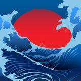 蓝色波浪和红色太阳在日本式 库存照片
