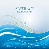 蓝色波浪抽象背景设计 向量例证