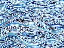 蓝色波浪最小的水彩绘的手拉的日本式 图库摄影