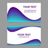 蓝色波浪设计名片模板集合 免版税库存图片