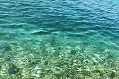 蓝色波纹水 免版税库存图片
