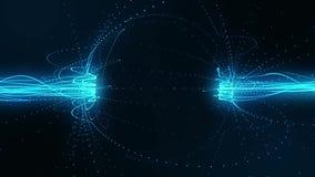 蓝色流线在磁场Loopable行动背景中 库存例证