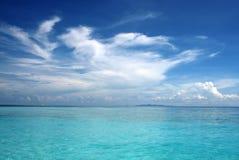 蓝色海和天空天际 图库摄影