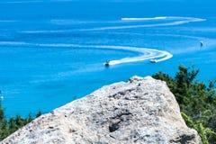 蓝色海和速度小船,暑假题材, 库存图片