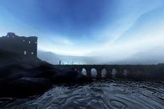 蓝色海岛城堡 免版税图库摄影
