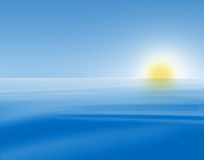 蓝色海景日出 向量例证