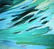蓝色海波浪,绘画,例证 库存图片