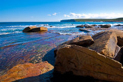蓝色海洋岩石 免版税图库摄影