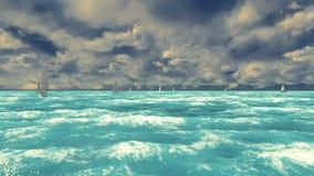 蓝色海洋的看法有风船的在一个晴朗的夏日 夏天阶段 股票视频
