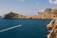 蓝色海湾和海景落后Golitsyn,地标克里米亚,新的世界 库存图片