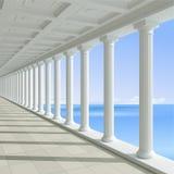 蓝色海背景的古色古香的柱廊  向量例证