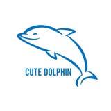 蓝色海豚手写的商标  免版税库存图片