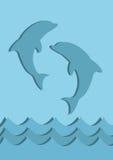 蓝色海豚标志 图库摄影