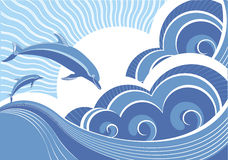 蓝色海豚海运通知 库存例证