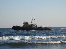 蓝色海运船 库存照片
