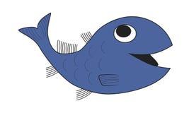 蓝色海鱼例证,上色水生椎骨动物 向量例证