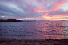 蓝色海,日落 库存图片