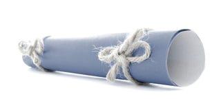 蓝色消息卷栓与绳索,自然弓配对隔绝 免版税库存图片