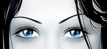 蓝色深眼睛 免版税库存照片