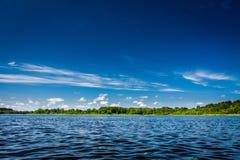 蓝色清楚的湖天空夏天 免版税库存图片