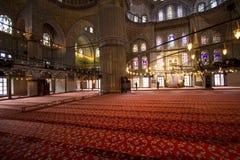 蓝色清真寺伊斯坦布尔内部  免版税库存图片