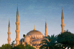 蓝色清真寺反映水 免版税图库摄影