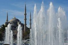 蓝色清真寺和喷泉在伊斯坦布尔,土耳其 免版税库存照片
