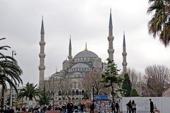 蓝色清真寺在TurkishIstanbul叫Sultanahmet Camii 库存图片