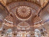 蓝色清真寺天花板伊斯坦布尔 免版税库存图片