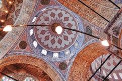 蓝色清真寺的天花板,伊斯坦布尔 图库摄影