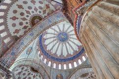 蓝色清真寺的天花板,伊斯坦布尔 免版税库存图片