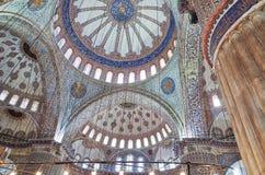 蓝色清真寺的天花板,伊斯坦布尔 免版税库存照片