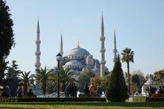 蓝色清真寺的美丽的景色 免版税库存照片