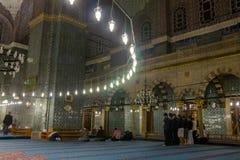 蓝色清真寺Sultanahmet清真寺的室内装璜 免版税库存照片
