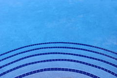 蓝色游泳池瓦片背景树荫  库存图片