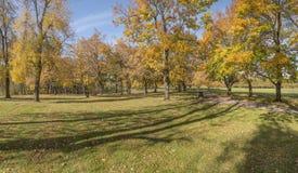 蓝色湖公园秋天风景俄勒冈 免版税库存图片