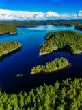 蓝色湖和绿色森林美好的夏天鸟瞰图在芬兰环境美化 库存图片