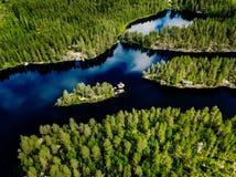 蓝色湖和绿色森林美好的夏天鸟瞰图在芬兰环境美化 免版税库存图片