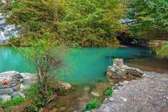 蓝色湖在秋天 阿布哈兹,在湖Ritsa附近 免版税库存图片
